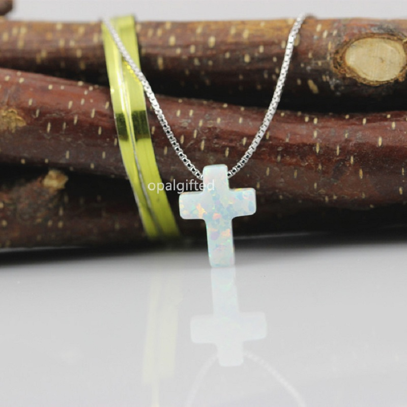 Details about  /Sterling Silver Created Opal Cross CZ Charm Pendant MSRP $93